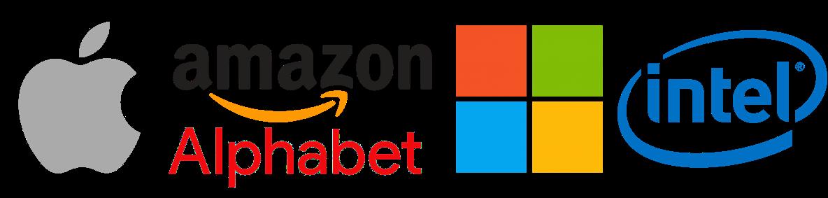 Apple Amazon Alphabet Intel Microsoft logos.png