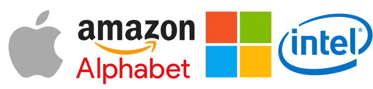 Apple Amazon Alphabet Intel Microsoft logos.png
