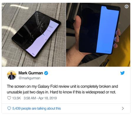 Samsung Fold screen break