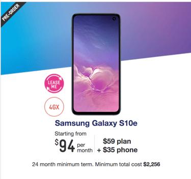 Samsung Galaxy S10e Telstra plan