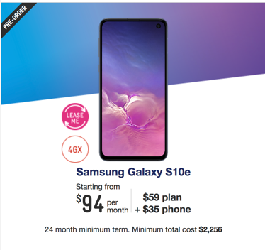 Samsung Galaxy S10e Telstra plan