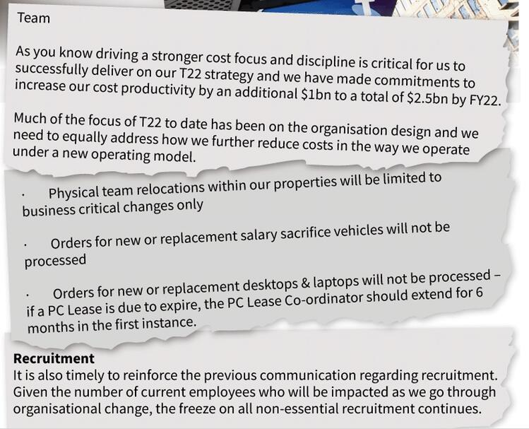 Telstra cost cutting email
